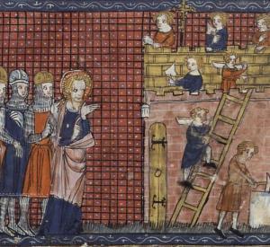 Hl. Valentin Bischof von Terni mit Gefährten. Codex: Français 185, Fol. 210. Vies de saints, France, Paris, 14. Jahrhundert